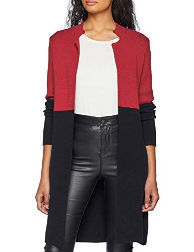 Morgan Gilet Long MBLOCK Cardigan Sweater, Multicolor (Bordeaux/Noir), X-Small Women's