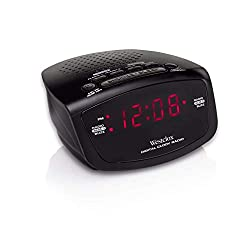 Westclox 80209 Red LED Display Dual Alarm Clock Radio with Easy Set Radio Tuning, Black, 4.8 x 4 x 2 inches