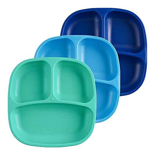 RE-PLAY Made in USA Toddler Feeding Divided Plates with Deep Sides and Three Compartments for Easy Self Feeding | BPA Free | Dishwasher Safe | Aqua, Sky Blue & Navy Blue | True Blue (3pk)