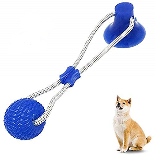 Small Pet Supplies Self-Playing Rubber Ball Toy with Suction Cup Dog Ropes Toy with Suction Cup Dog Interactive Molar Chew Rubber Bite Chew Toys Toothbrush Puppy Dental Care Accessory Nontoxic Natural
