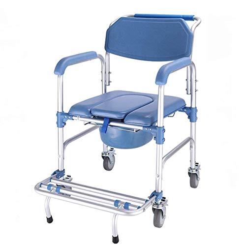Z-SEAT Silla con Inodoro/con Silla de Inodoro con Ruedas/Silla de Transporte para Silla de Ruedas Silla de Transporte, Inodoro móvil Plegable Ancianos discapacitados Baño Taburet