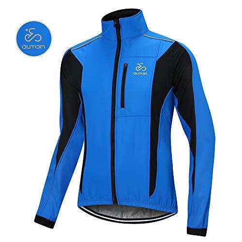 OUTON Winddichte Fahrradjacke Männer Radsport-Jacken für Herren MTB Mountainbike Jacket Visible reflektierend Fleece Warm Jacket (Blau, XL)