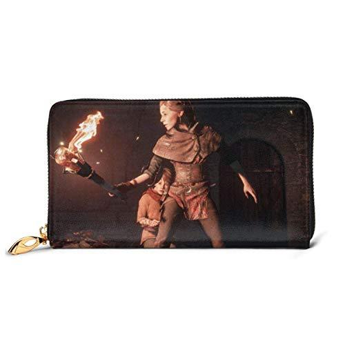 AOOEDM Leather Wallet A Plague Tale Innocence Wallet Blocking Echtes Leder Wallet Reißverschluss um Kartenhalter Organizer Clutch