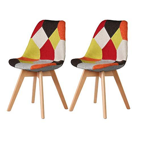 MIFI Retro Patchwork Stuhl Stoff Esszimmer Lounge Stühle Esszimmerstühle 2er Set Tulip Stühle mit Rückenlehne Sofakissen Massivholz Beine (Rot)