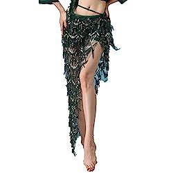 Grenn Hip Scarf Skirt with Sequin Tassel