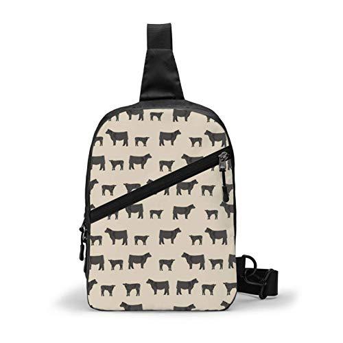 Angus Black Cattle Farm Animal Tan Chest Package Crossbody Sling Mochila Bolsa de hombro Mochila de viaje Mochila deportiva informal