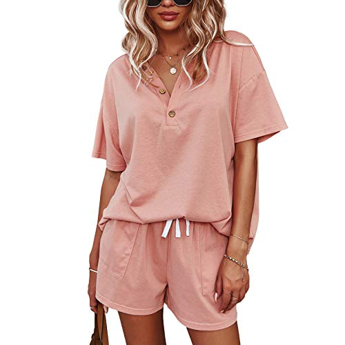Women Two Piece Sweatsuits Sets: Casual Short Sleeve Sweatsuit Outfits Loose Fitting Lounge Set Tracksuit Outfit Pockets