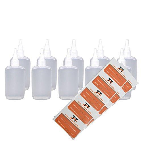 10x 150ml ovalada botellas–Botellas de plástico suave PE (Blanco/Transparente)–Liquid Botella–tropffl Ash, dosificadora botellas, Dropper botellas, quetschf laschen