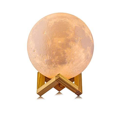 Lámpara de luna 3D con soporte de 5,9 pulgadas, luz de noche de luna regulable con control de tapa, 16 colores,con Hung cuerda luz colgante de luna para la habitación