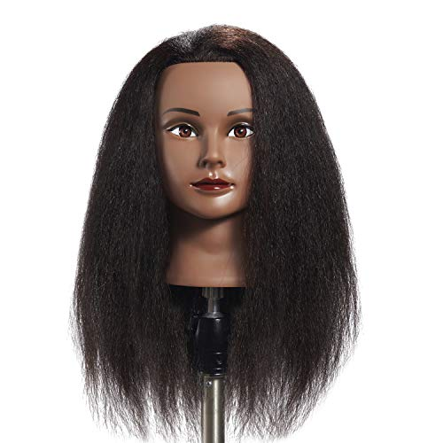 Hairginkgo 100% Human Hair Mannequin Head Hairdresser Training Head Manikin Cosmetology Doll Head (92092B0210)