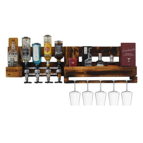 Weinbar/Schnapsbar mit Flaschenhalter, Weinregal Paletten-Möbel, Wand Regal als Hausbar zum Hängen, Weinglashalter und Getränkespender, Hand-Made in Germany