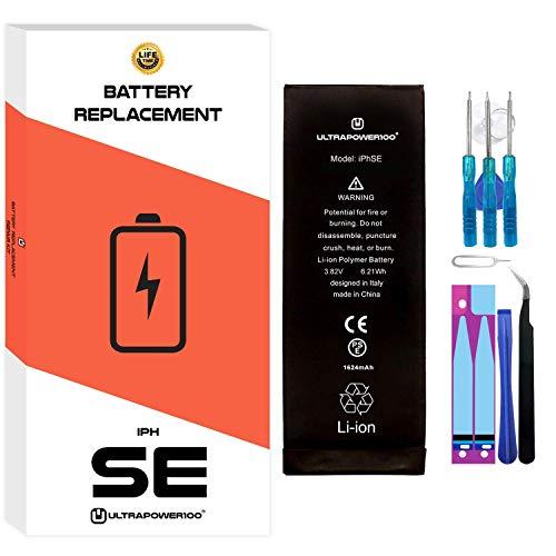 ultrapower100® batería Compatible con iPhone SE 1ª Gen.|Original Capacidad 1624 mAh|producción 2020, 0 ciclos de Recarga| Incluye Manual y Kit de Juego de Herramientas|Todos APN|Garantía de por Vida