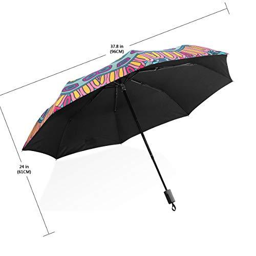 Patrón de flor de paraguas Mandala colorido 3 pliegues Ligero Anti-UV