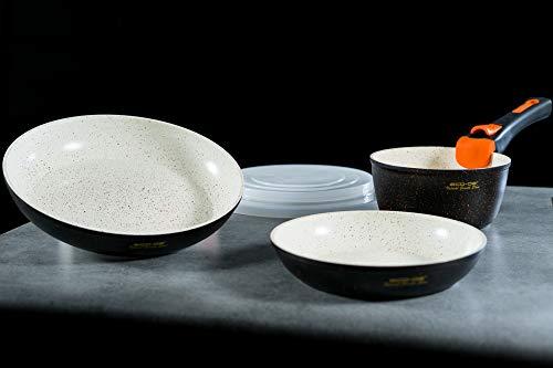 ECO-DE Set de 3 Piezas de sartenes con revestimineto cerámico y Granito con Mango Extraible Granite Stone (2 sartenes, 1 cazo y 2 Tapas) Apto para inducción y vitro