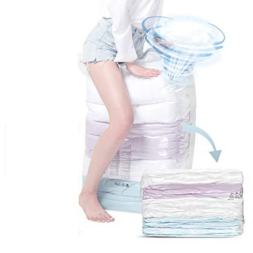 Vacuum Storage Bags {80% Max Compression} 8 JUMBO Packs 100x80cm {Free Hand Pump+Ear Plugs- For Travel} Space saver bags - reusable ziplock bags vacuum seal bag - clothesstorage bag- blanket storage