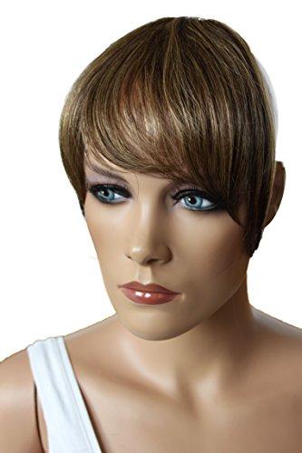 PRETTYSHOP 100% ECHTHAAR Pony Haarteil Haarverdichtung Haarverlängerung Braun Mix H313k