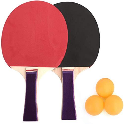 Raqueta de Tenis de Mesa con Mango de Color para Principiantes, Raqueta de 2 Capas, Raqueta de Agarre Firme, Adecuada para niños, Adultos, Interior y Exterior