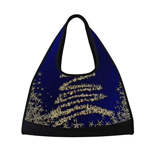 TIZORAX Sternen-Weihnachtsbaum auf blauem Hintergrund, Reisetasche, Sporttasche, Sporttasche, Schultertasche