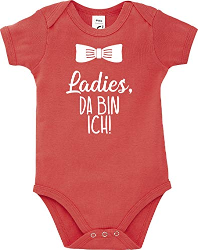 Kleckerliese Baby Body Sprüche Jungen Mädchen Kurzarm Motiv Ladies, da Bin ich, Coral, 3-6 Monate