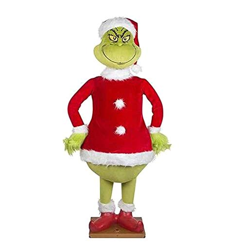 Furry Green Grinch Arm and Head, Funny Christmas Tree Ornaments Decoration (Grinch) for Christmas Party, Holder for The Christmas Tree, Indoor Decor (Doll)