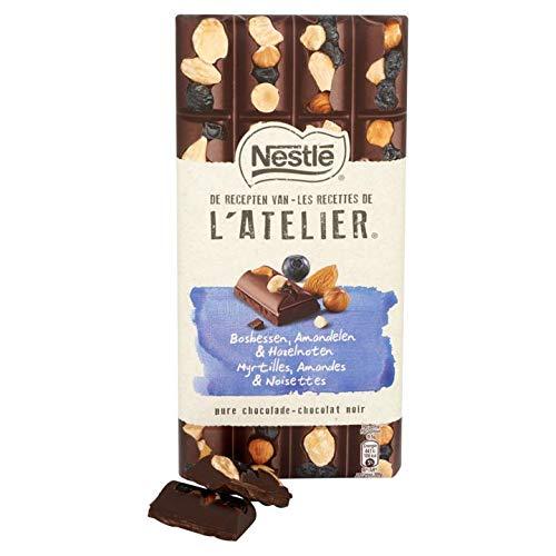 NESTLE L'ATELIER Dunkle Schokolade mit kandierten Blaubeeren, Haselnüsse und Mandeln, 195 gr
