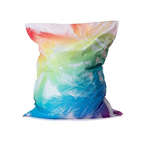 Lumaland Tropical Regenbogen XXL Sitzsack 380L - 140 x 180 cm für Indoor & Outdoor - Riesensitzsack Sitzkissen Sessel Gamer Stuhl Bean Bag für Kinder & Erwachsene - Limited Edition
