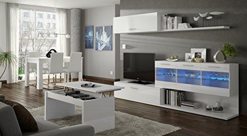 Direct Furniture Alessia–Aral Vetro Salon Meuble TV–Blanc Brillant–(155x 42,5x 12,7)