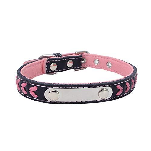 Collar de Gato para Perros pequeños Collares de Cuero para Cachorros de Gato Suministros para Mascotas Producto Ajustable para Collares de Gatitos para Mascotas -Pink_S
