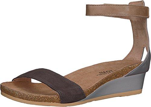 NAOT Women's Pixie Wedge Sandal Black Suede/Vintage Slate Lthr Combo 8 M US