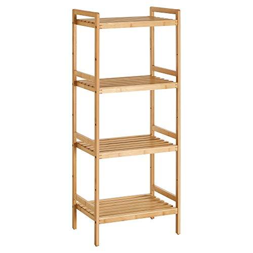 SONGMICS Estantería de bambú de 4 Niveles para baño, Cocina y Dormitorio, 45 x 31,5 x 111 cm, Natural BCB074N01