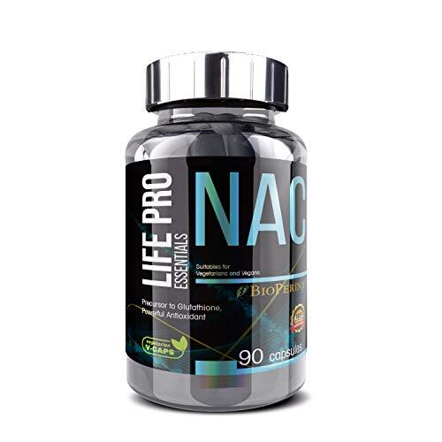 Life Pro Essentials NAC 90 Cápsulas   Aumenta y refuerza las defensas   Con N-Acetil Cisteína   Antioxidantes capsulas   Aminoacidos capsulas