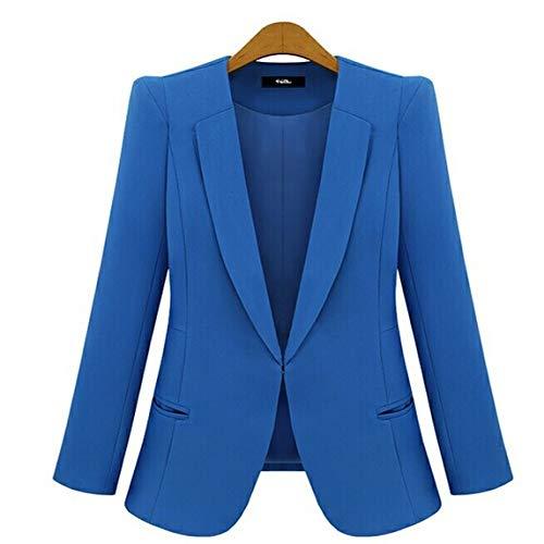 HOSD 2019 Nuevos Trajes de Negocios para Mujer de Talla Grande Primavera Otoño All-Match Blazers para Mujer Chaquetas Cortas Slim Blazer de Manga Larga Traje de Mujer Azul XXL