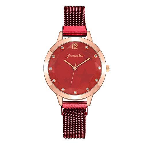 Women's Analog Quartz Wristwatch, Classic Mesh Stainless Steel Strap Bracelet Watch with Rhinestone Scale, Elegant Anniversary Holiday Gifts Presents for Women Girls (J)