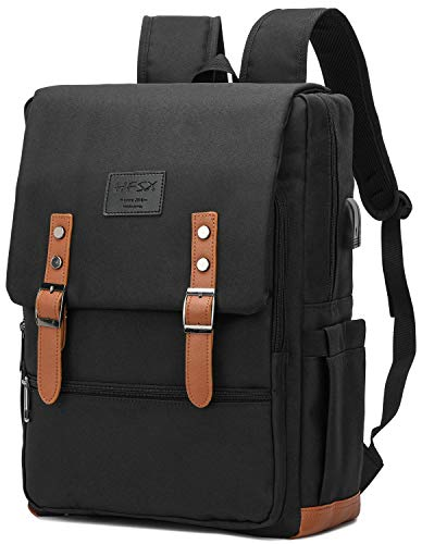 Vintage Backpack Anti Theft Laptop Backpack Men Women Business Travel Computer Backpack School College Bookbag Stylish Water Resistant Vintage Backpack with USB Port Fits 156 Inch Laptop Black