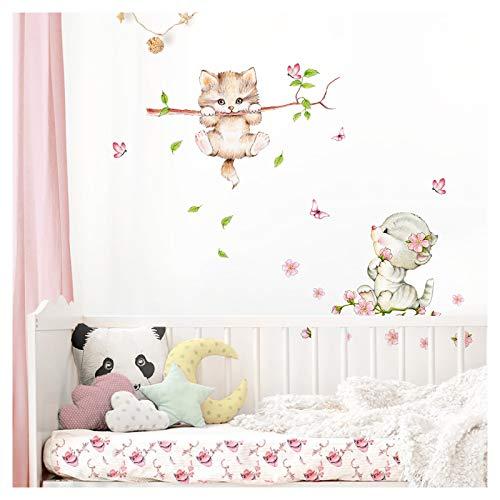 Little Deco Wandaufkleber Kinderzimmer Mädchen 2 Katzen Schmetterlinge I S - 56 x 60 cm (BxH) I Wandtattoo Katze Aufkleber Tiere Deko Babyzimmer Kinder DL361