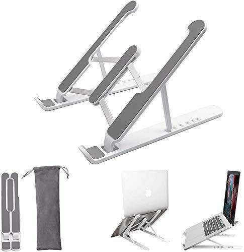 Soporte para ordenador portátil, ajustable de 6 niveles, portátil, ligero, plegable, vertical con silicona antideslizante, máximo 8 kg, soporte para computadora portátil para oficina en casa