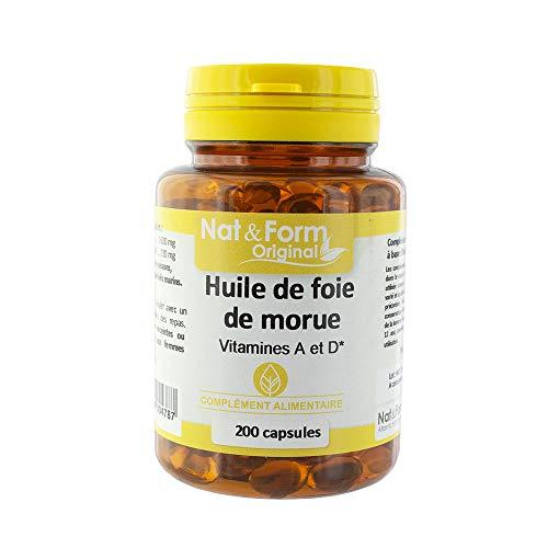 Nat & Form - Huile De Foie De Morue 200 Capsules Vitamines A Et D Nat&form