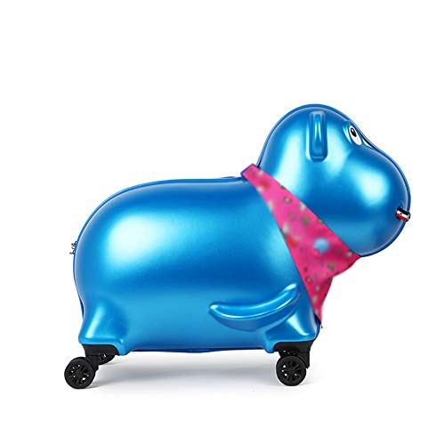 XWWS Kids Luggage - Cute Hippo Children's Ride-On Suitcase Hard Shell, Security Code Lock, Best Gift for Kids,Blue