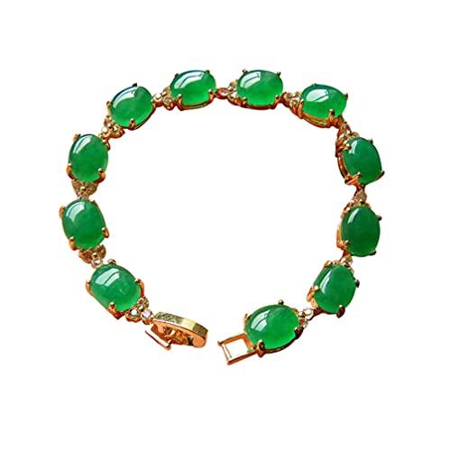 DOITOOL Pulsera de corte esmeralda para mujer, pulsera de jade ovalada, cuentas de chakra, piedra natural, pulsera elástica de jade (varios colores)