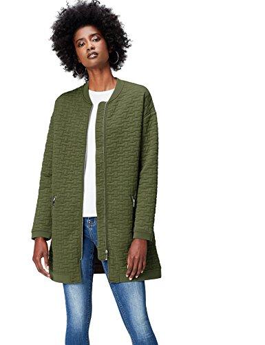 find. Bomberjacke Damen langer Schnitt und gestepptes Muster, Grün (Khaki), 38 (Herstellergröße: Medium)