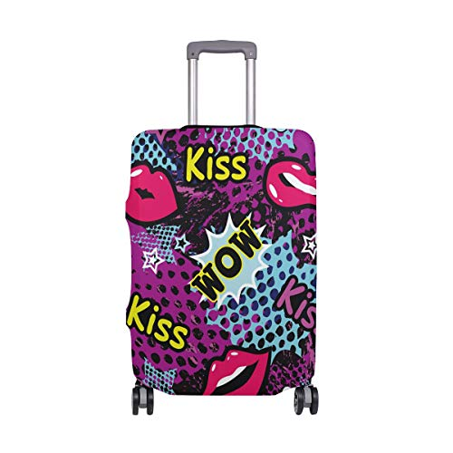 Travel Luggage Cover Protector Funny Kiss Lips Suitcase Baggage Cover Spandex for Adult Women Men Teen Fits 22-24 Inch