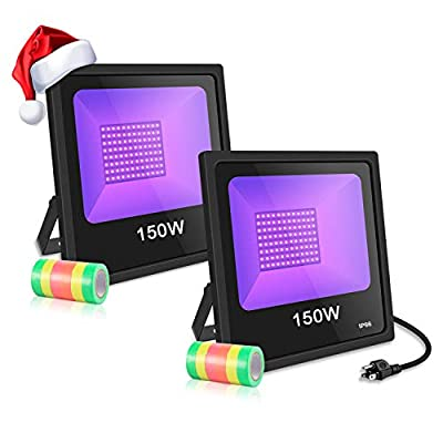 LED Black Lights for Party, 2 Pack 150W UV LED Blacklight with 10ft Power Cords IP66 Ultra Violet Flood Light Stage Lighting - Perfect for Halloween, Club, Glow in The Dark, Body Paint, Aquarium