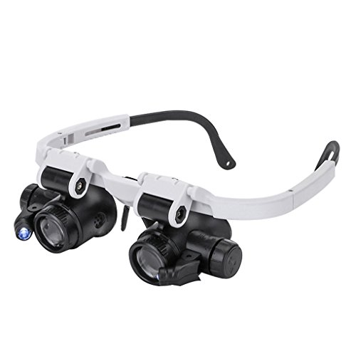 magnification glasses Magnifying Glasses 8X 15X 23X Magnifier LED Headband Glass Eye Magnifying Repair Tool Watchmaking Coin Stamp Currency Book Errors Jewelry Necklace Magnifier Glasses Beading Biology Loupe Microscope