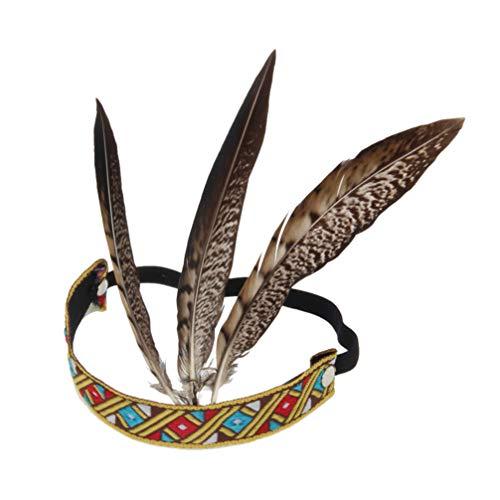 Holibanna diadema de plumas de pavo real nativo traje indio tocado americano accesorios para el cabello