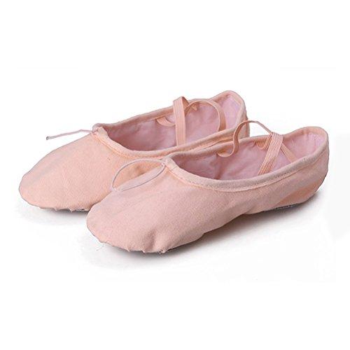 Abaodam Zapatillas de ballet clásicas de lona para niñas y bebés, con suela dividida, para bailar, gimnasia, yoga, zapatos planos, talla 33 (rosa carne)