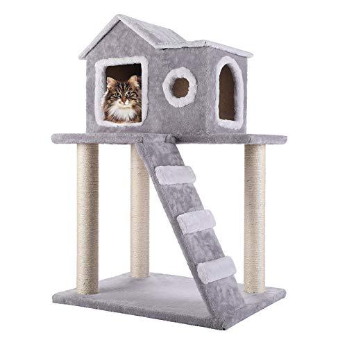 CO-Z Casa de Gato Multifuncional 60 x 48 x 90cm Casa de Juegos de Árbol para Gatos Árbol Rascador para Gatos Torre de Gato Rascador con Condominio