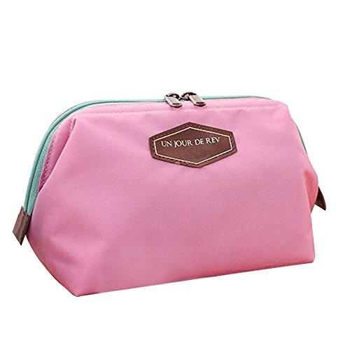 Gearmax® Multifunzione sacchetto di trucco della cassa di matita Cosmetic del sacchetto della borsa di tela(Rosa)
