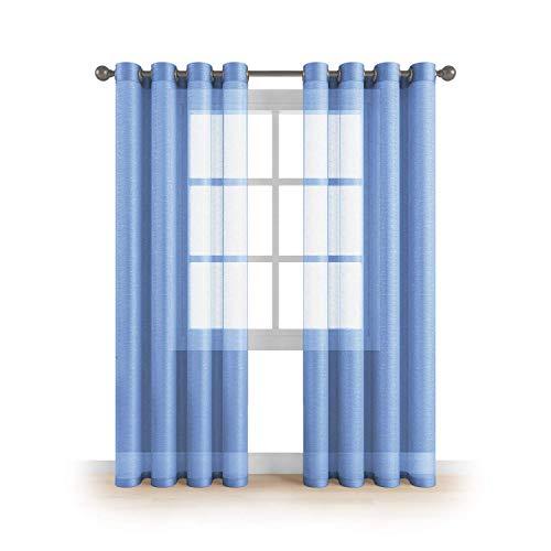 Kingnet Cortina de visillos semitransparentes Lisos con 8 Ojales, Juego de 2 Piezas visillos de 145x260cm, Efecto para Ventana hogar salón Dormitorio habitación (L-0577, 145X260CM)