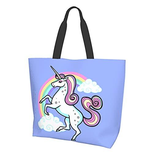 Bolso de mano para mujer para dibujos animados Vector Unicornio Escuela Trabajo Compras y Viajes