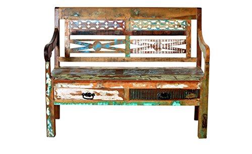 Sit Möbel Riverboat 9120-98 Holzbank im Factory-Design, Gebrauchsspuren, recyceltes Altholz, bunt lackiert, 120 x 50 x 95 cm